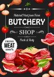 Slakt shoppar, kött och korven, smaktillsatser vektor illustrationer