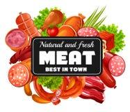 Slakt shoppar Vektorkött och korvar, grönska stock illustrationer