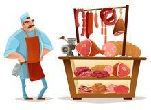 Slaktare Cartoon Concept stock illustrationer