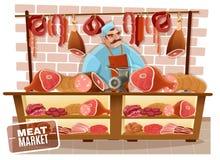 Slaktare Cartoon Illustration vektor illustrationer