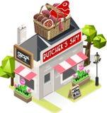 Slaktare isometriska Shop City Building 3D royaltyfri illustrationer