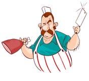 Slaktare med kniven och kött royaltyfri illustrationer