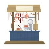 Slaktare shoppar framlänges designsymbolen stock illustrationer