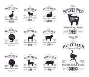 SlaktareAmerican Shop etiketter planlägger uppsättningen med strutsen, kalkonfågeln, hästen, kon, lamm Mallar för logo för grunge royaltyfri illustrationer