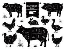 Slaktarediagram Djura köttsnitt, konturer för tamdjur för tupp för lamm för kosvinkanin Shoppar den retro slaktaren för vektorn royaltyfri illustrationer