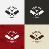 Slaktaren Shop Design Element i tappningstil för logotyp, etiketten, emblemet, T-tröja och annan planlägger Koframsida och retro  vektor illustrationer