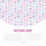 Slaktaren shoppar begrepp med den tunna linjen symboler arkivbild