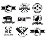 Slaktaren shoppar logo och etiketten vektor royaltyfri illustrationer