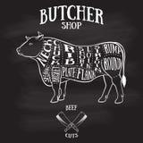 Slaktaresnittintrig av nötkött stock illustrationer