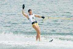 Slalom 2009 de femmes de coupe du monde de Putrajaya Waterski Images libres de droits