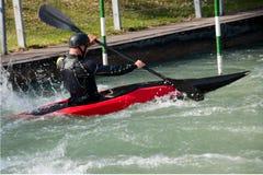 Slalom da canoa em Eiskanel em Augsburg Foto de Stock Royalty Free