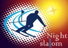 Slalom di notte Fotografia Stock Libera da Diritti