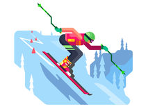 Slalom downhill skiing. Sport winter, speed skier extreme, active slope, flat vector illustration Stock Images