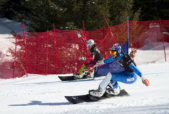 Slalom gigante paralelo do Snowboard imagens de stock royalty free
