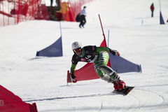 Slalom gigante paralelo do Snowboard imagem de stock royalty free