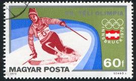 Slalom. HUNGARY - CIRCA 1975: stamp printed by Hungary, shows slalom, circa 1975 Stock Photo