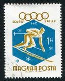 Slalom. HUNGARY - CIRCA 1960: stamp printed by Hungary, shows slalom, circa 1960 Stock Images