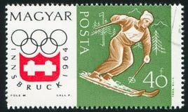 Slalom. HUNGARY - CIRCA 1963: stamp printed by Hungary, shows slalom, circa 1963 Stock Photos