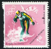 Slalom. HUNGARY - CIRCA 1968: stamp printed by Hungary, shows slalom, circa 1968 Stock Image