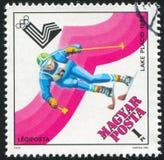 Slalom. HUNGARY - CIRCA 1979: stamp printed by Hungary, shows slalom, circa 1979 Royalty Free Stock Images