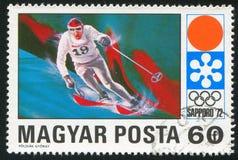 Slalom. HUNGARY - CIRCA 1971: stamp printed by Hungary, shows slalom, circa 1971 Royalty Free Stock Image