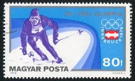 Slalom. HUNGARY - CIRCA 1975: stamp printed by Hungary, shows slalom, circa 1975 Royalty Free Stock Photos