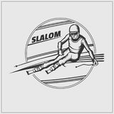 Slalom label. Athlete on the downhill. Vector monochrome Illustration Royalty Free Stock Images