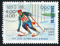 Slalom. LAOS - CIRCA 1983: stamp printed by Laos, shows slalom, circa 1983 Royalty Free Stock Photo