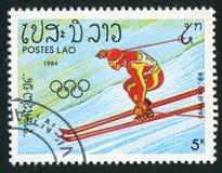 Slalom. LAOS - CIRCA 1984: stamp printed by Laos, shows slalom, circa 1984 Royalty Free Stock Image