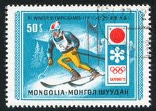 Slalom. MONGOLIA - CIRCA 1972: stamp printed by Mongolia, shows  slalom, circa 1972 Royalty Free Stock Photography