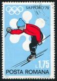 Slalom. ROMANIA - CIRCA 1971: stamp printed by Romania, show slalom, circa 1971 Royalty Free Stock Photo
