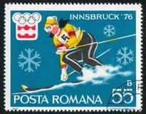 Slalom. ROMANIA - CIRCA 1976: stamp printed by Romania, show slalom, circa 1976 Royalty Free Stock Image