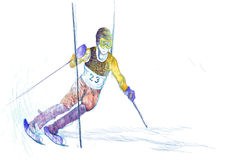 Slalom, skier. Slalom - down hill skier - hand drawing using digital tablet Stock Images