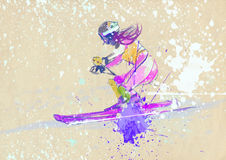 Slalom, skier. Slalom, down hill skier - down hill skier - hand drawing using digital tablet Royalty Free Stock Photos