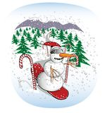 Slalom Snowboarding Snowman. Snowman in a downhill slalom. Make your own blizzard using puffball on the hat as a brush Stock Image