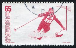 Slalom. SWEDEN - CIRCA 1974: stamp printed by Sweden, shows Slalom, circa 1974 Stock Photo