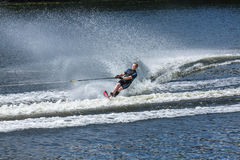 Slalom, water skis, editorial. Novopolotsk, Belarus - June 10, 2017: the annual international tournament on water skiing, held on lake Lyuhovo. Athlete water stock images