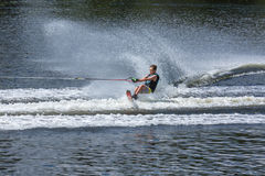 Slalom, water skis, editorial. Novopolotsk, Belarus - June 10, 2017: the annual international tournament on water skiing, held on lake Lyuhovo. Athlete water stock photos