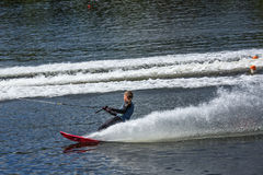 Slalom, water skis, editorial. Novopolotsk, Belarus - June 10, 2017: the annual international tournament on water skiing, held on lake Lyuhovo. Athlete water royalty free stock photography