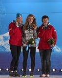 Slalommedaillenzeremonie des alpinen Skifahrens Lizenzfreie Stockbilder