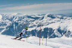 Slalomskidåkare i Gudauri, Georgia Fotografering för Bildbyråer