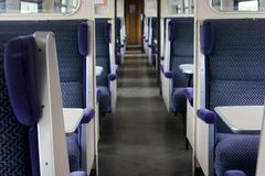 Slam Door Train Seating. Traditional seating in a slam door train carriage, which are no longer in service royalty free stock photos