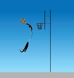 Slam-dunk in basketball with a jump from outside the penalty are. Slam dunk with a slope to the ground. Inclined jam in the basket. Artistic representation Stock Photos