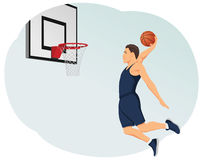 Slam dunk. Basketball player making a slam dunk. Playing street ball. Healthy lifestyle Royalty Free Stock Photos