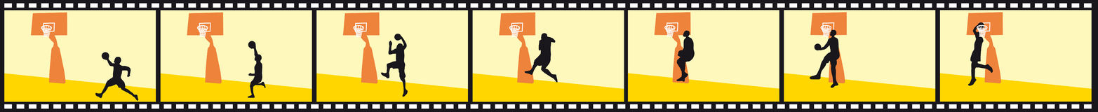 Slam dunk movie. Basketball movie of a slam dunk Royalty Free Stock Image