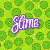 Slam som märker inskriften Runda stycken för kiwi seamless modell Vektorillustration på grön textur arkivfoto
