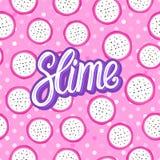 Slam som märker inskriften Runda stycken för Pitaya pitahaya seamless modell Vektorillustration som isoleras på rosa textur royaltyfri foto