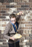 Slamming down the phone. Like a boss. Bad tempered dorky manger slamming down the receiver on a retro phone. Like a boss Royalty Free Stock Photos