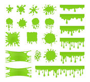 Slamvektoruppsättning Fläckar plaskar och smetar grön flytande arkivfoton