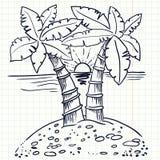 Sland with palms Royalty Free Stock Image